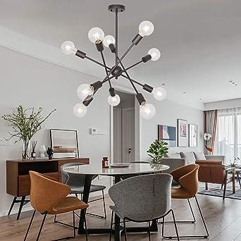 BONLICHT Black Sputnik Chandeliers 8 Light Vintage Industrial Semi Flush Mount Ceiling Light Mid Century Modern Pendant Lighting for Kitchen Dining