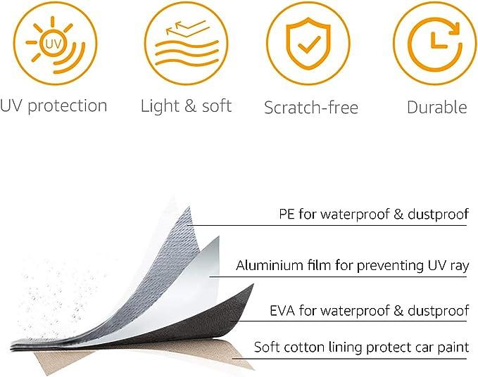 Basics PEVA mit Baumwolle Wetterfeste Auto-Abdeckung silberfarben Limousinen bis 460/cm