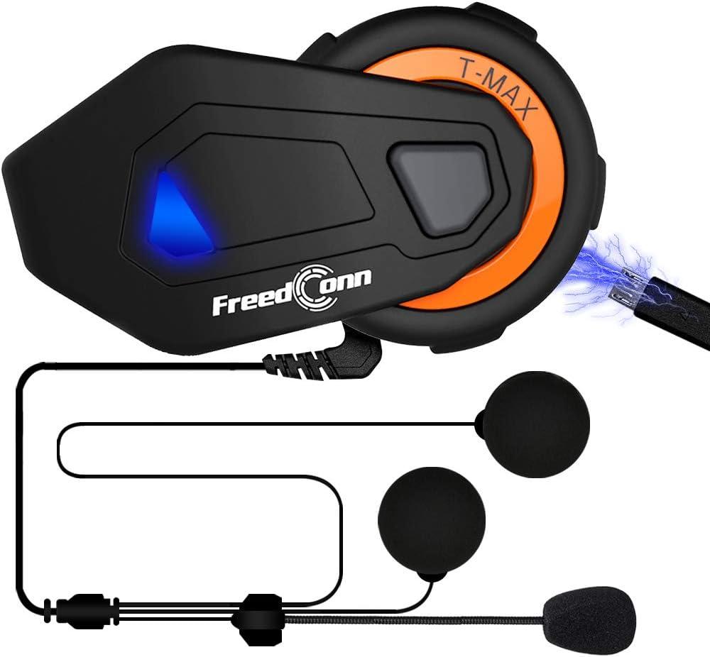 ILM Motorcycle Bluetooth Headset 6 Riders 1000M Helmet Communication Intercom System Hard Cabel Mic Speakers with FM Radio for Motocross Motor Bike Skiing