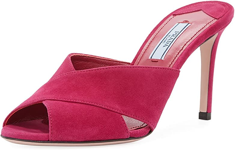 Prada Suede Crisscross Slide Sandal