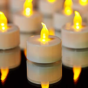 YIWER Tea Lights LED Tea Light Candles 100 Hours Pack of 50 Realistic Flickering Bulb Battery Operated Tea Light for Seasonal Festival Celebration Electric Candle in Warm Yellow