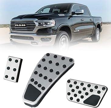 Stainless Steel Non-Slip Pedal Pad Accelerator Brake Foot Pedal Cover Kit for 2009-2018 Dodge Ram 1500-5500 3 pcs//Set Gas Brake Pedal Cover