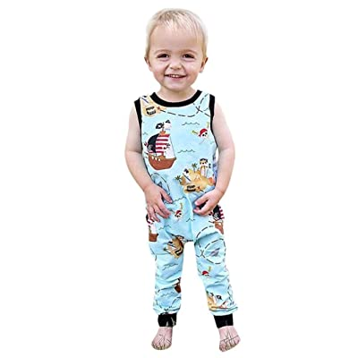 a7eaf9c2d90 Moonker Jumpsuit Newborn Toddler Infant Baby Boy Girl Cartoon Pirate Print  Zip Romper Sunsuit Overalls 0-3T