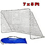 Yaheetech 7 x 5 ft Portable Soccer Goal Steel Post with White Nets School Sports Competition Soccer Goal