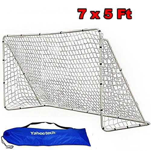 Yaheetech 7 x 5 ft Portable Soccer Goal Steel Post with White Nets School Sports Competition Soccer Goal (Soccer Goal Post Size)