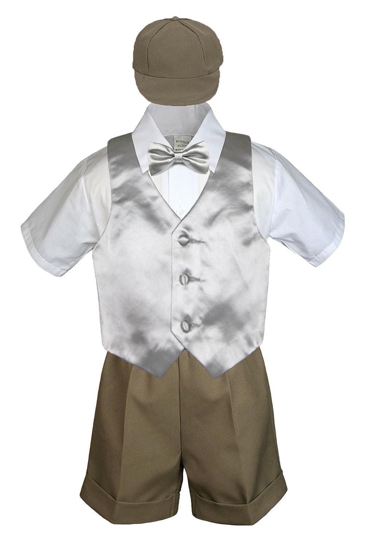 4pc Set Boy Toddler Formal Gold Vest and Bow tie White Navy Khaki Shorts S-4T