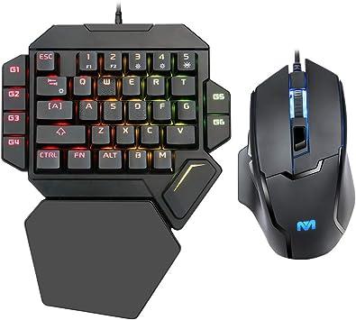 ZJFKSDYX K50 RGB Teclado mecánico de una mano y ratón retroiluminado Combo ratón, teclado mecánico de una sola mano con soporte para manos y ratón ...