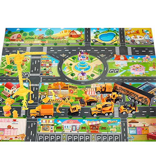 Jellydog Toy Construction Vehicles Set, 26 Piece Die-Cast Construction Trucks, Metal Play Vehicles Set with Street Play Mat,Road Barriers and Signs for Kids Boys and Girls 3 -