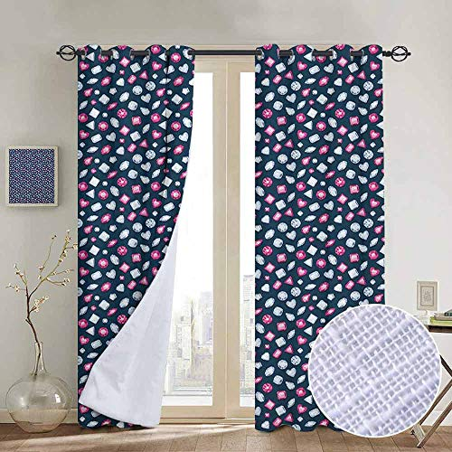 NUOMANAN Customized Curtains Diamonds,Round Marquise Square and Heart Shape Arrangement on Dark Color, Dark Blue Pink Baby Blue,Blackout Thermal Insulated,Grommet Curtain Panel 1 Pair84 x100