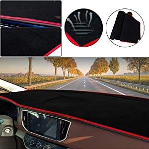 Muchkey Car Dashboard Dash Board Cover Mat Fit for Mazda CX-5 2013-2016 Trim: Base, Grand Touring, Sport, Touring,Dashboard Protector,Easy Installation,Black-red