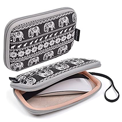 Case Star Bohemian Style Canvas Fabric Smart Elephant Pattern Travel Carrying Case Bag for Mac Magic Mouse, Anker USB Wall Charger Travel Adapter, Apple 45W MagSafe Power Adapter (Elephant - Black)