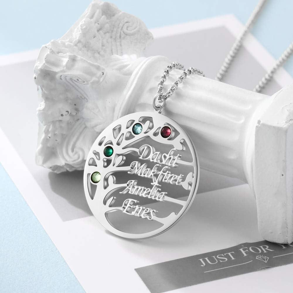 KAULULU Personalisiert Damen Baum des Lebens kette mit Gravur 2 bis 4 Familie Namen Stein Namenskette 925 Silber Anh/änger f/ür Mutter BFF Schmuck Halskette Geburtstag
