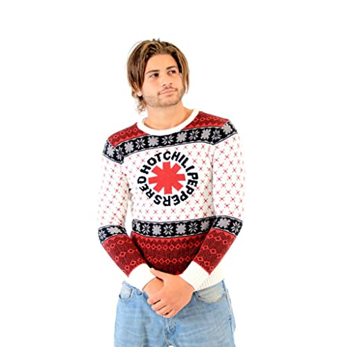 red hot chili peppers logo adult white ugly christmas sweater - Band Christmas Sweaters
