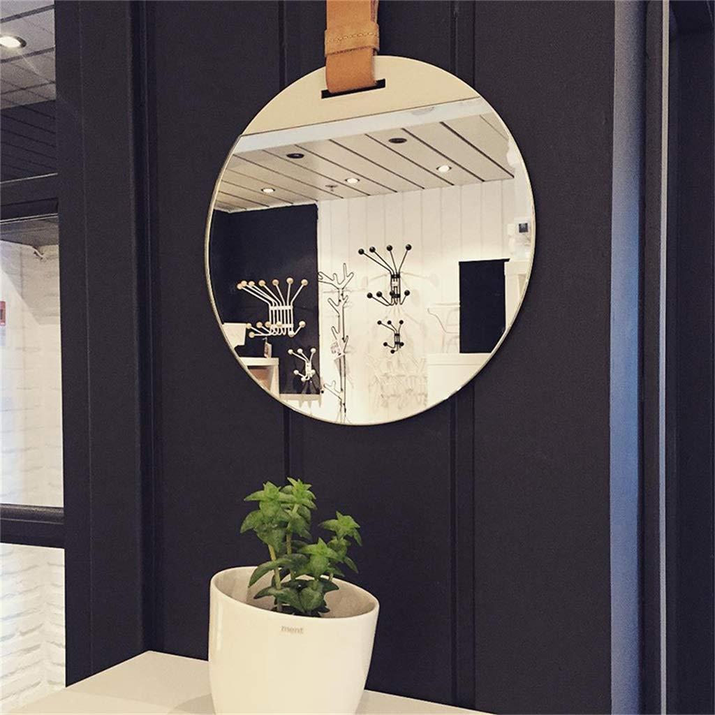 Miroirs de vanit/é ronde en m/étal fix/és au mur avec faux cuir suspendu sangle de maquillage Miroir de maquillage cosm/étique D/écoration Miroirs taille : Diameter 30cm