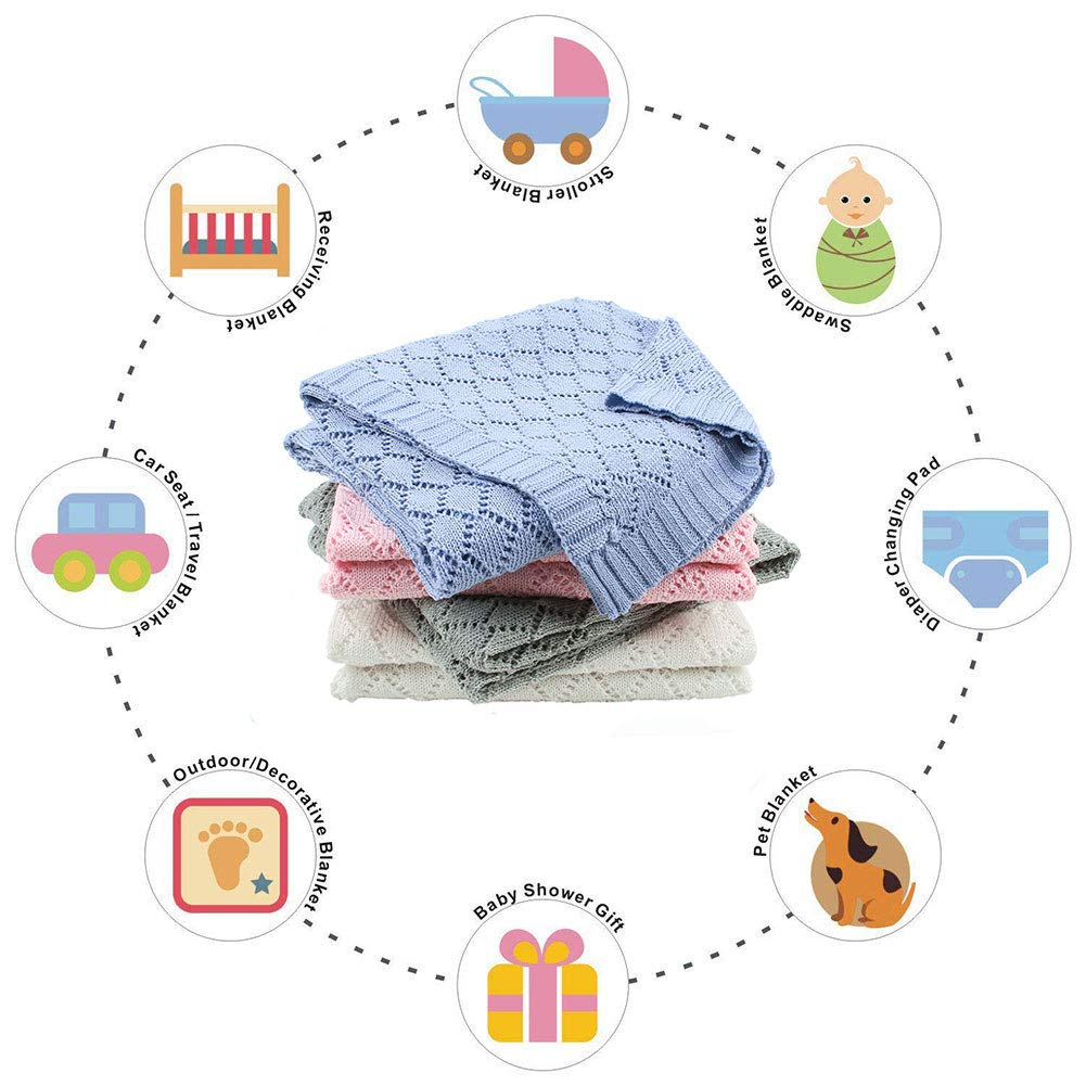mimixiong Toddler Blankets Knitted Cellular Baby Blankets for Boys and Girls Ivory 40x30