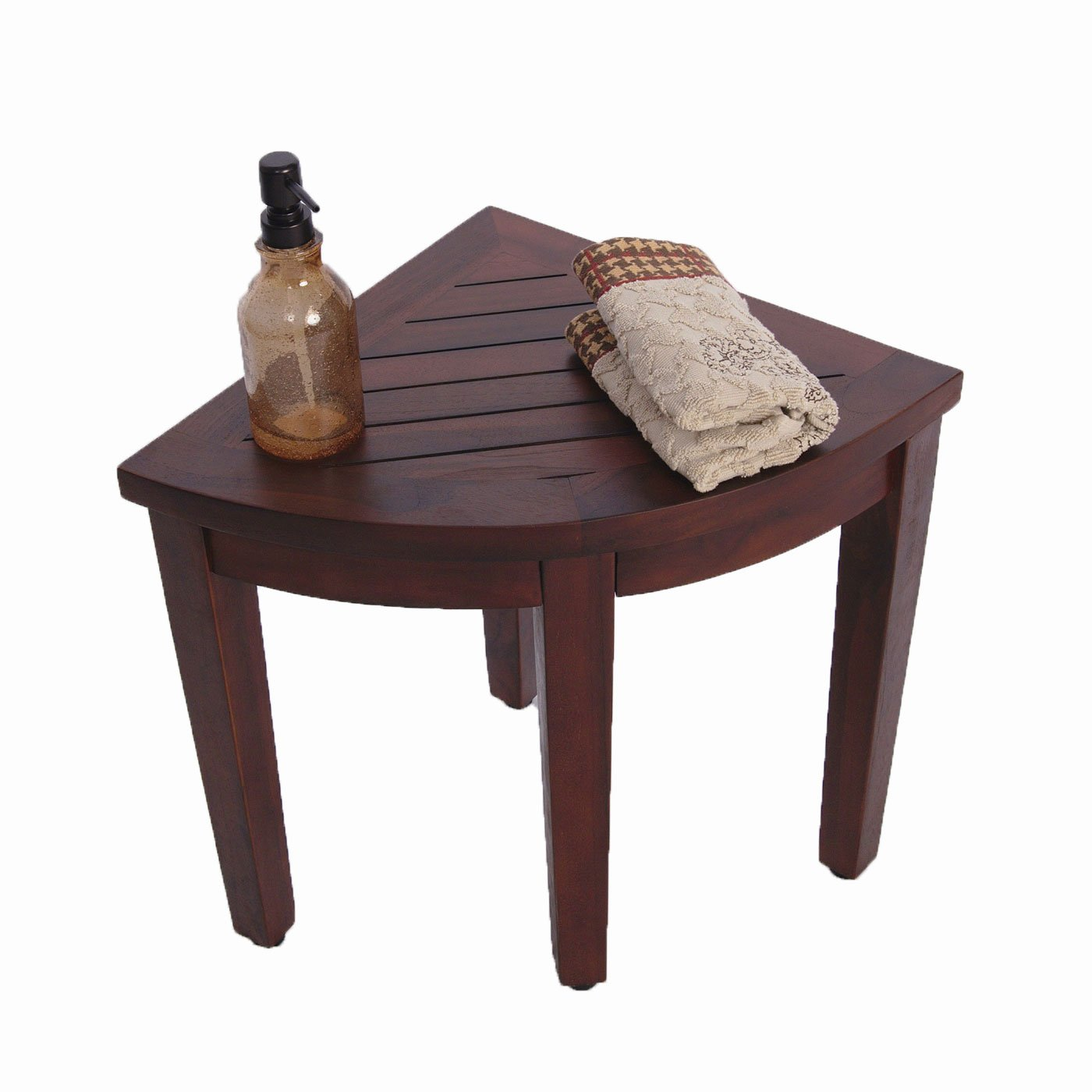 Oasis Teak Corner Shower Bench(Fully Assembled)- 15.5''- Sitting, Storage, Shaving- Adjustable Foot Pads