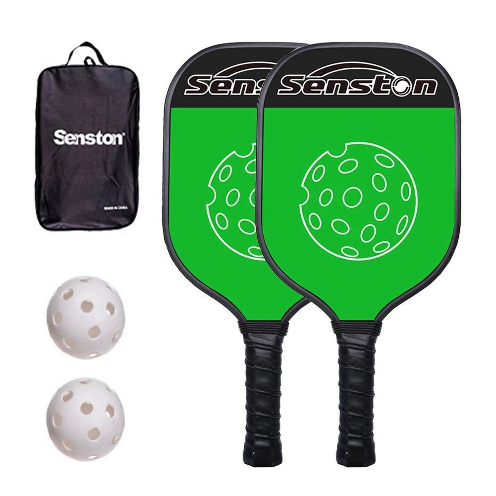 Senston 2 Pickleball Rackets Lightweight 8oz Graphite Honeycomb Composite Core Pickleball Paddles Set for Intermediate, Beginners or Bonus Gift (3 Colors)