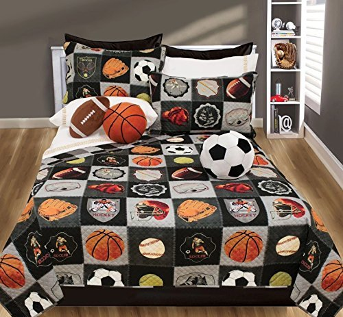3 Piece Kids Ball Sports Themed Quilt Set Full/Queen Size, Socker Basketball Baseball Tennis Balls Printed Design Bedding, All Star Motif Sports Fan League Children Boys Bedroom, Black, Multicolor S & E