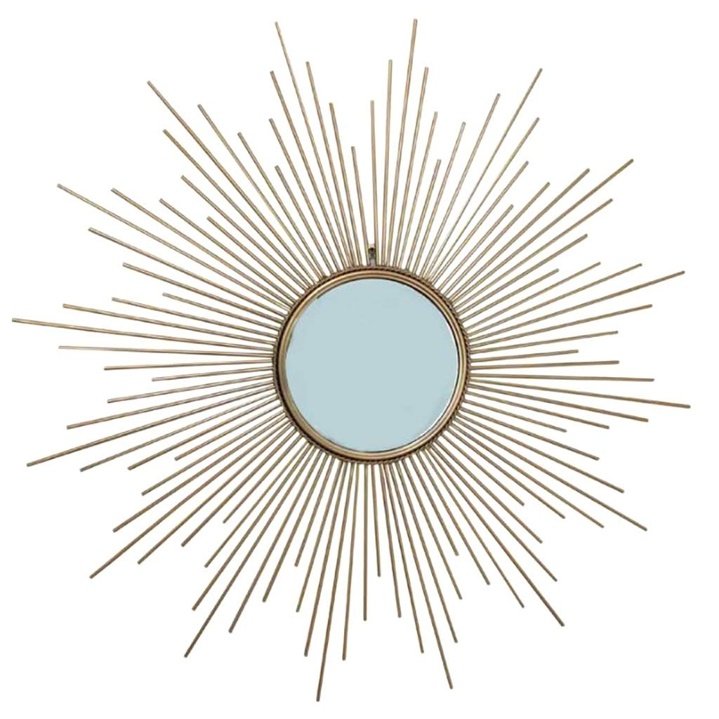 JIANPING The Wall Mirror Decorates The Sun and The Metal Living Room and Bed Room is Perfect for Housewarming Gifts. Wall Mirror (Size : 80cm) by JIANPING