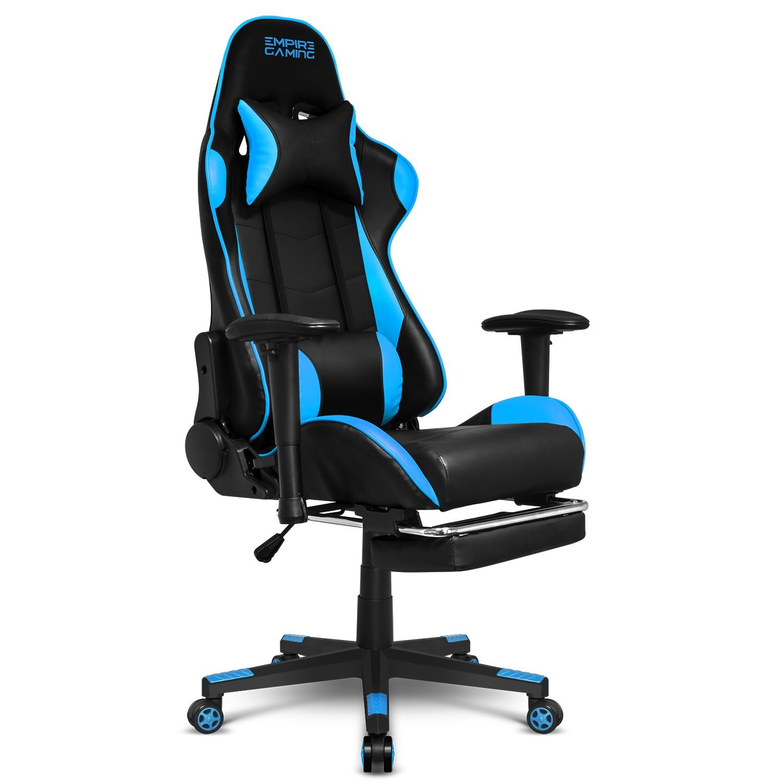 Empire Gaming - Sillón Racing 800 serie Negra/Azul - Reposapiés y forma de asiento deportivoacolchado ultra confortable - Reposabrazos 2D ajustables ...