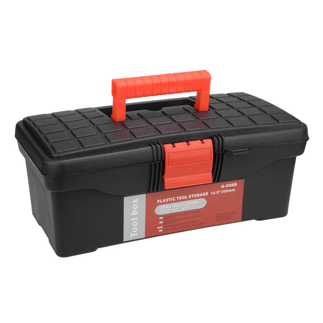 uxcell 14-inch Tool Box Plastic Tool Box with Tray and Organizers Includes Removable Three Small Parts Boxes