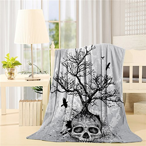 SIGOUYI Lightweight Fleece Blankets Reversible Throw Cozy Plush Microfiber All-Season Blanket for Bed/Couch - King 60x80 Inch, Skull Tree Grey