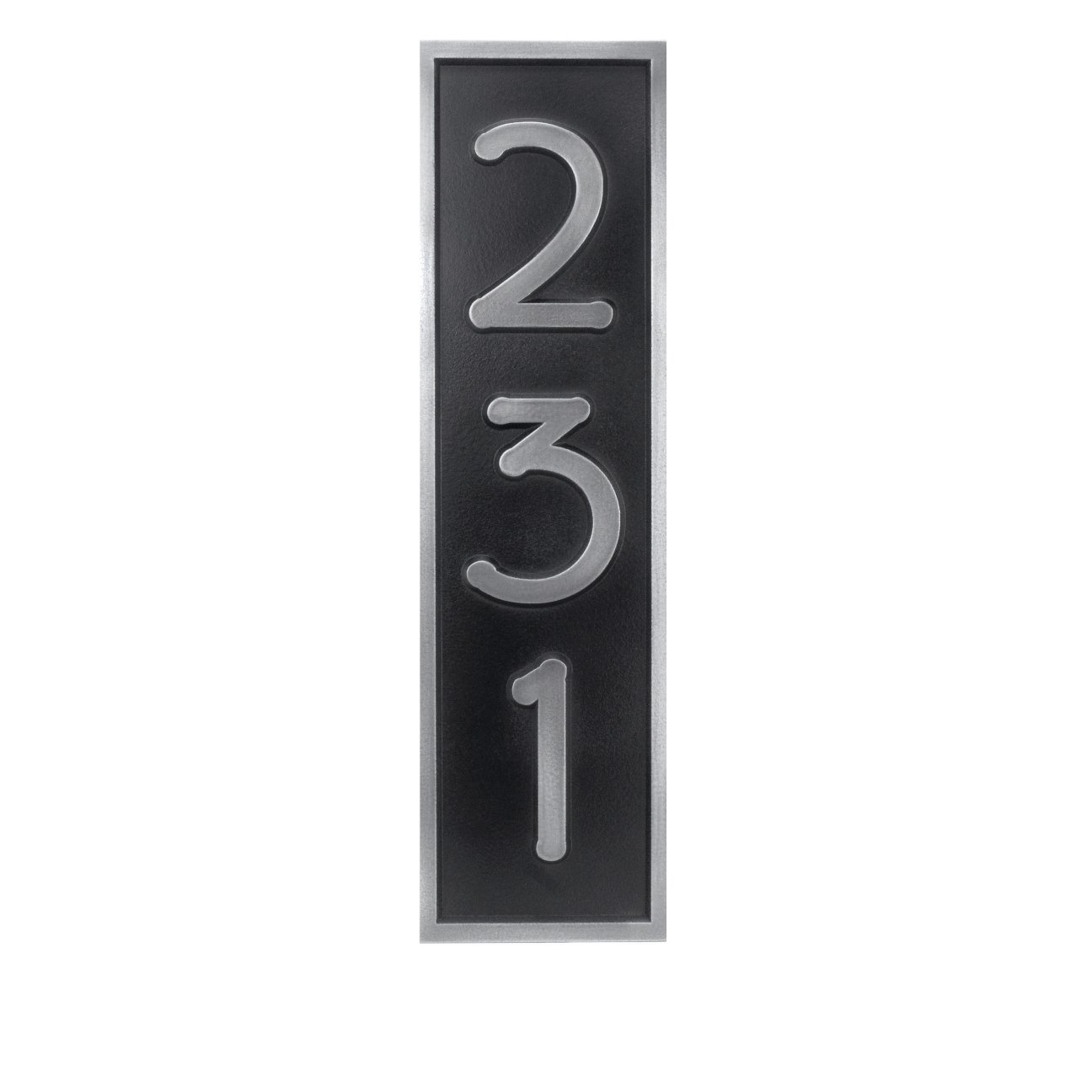 Prairie Style Vertical Home 3 Number Plaque 6.5x15 - USA Made - Raised Pewter Metal Coated