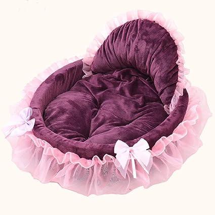 Fossrn Camas para Perros Pequeños Chica Chihuahua Yorkshire Pomerania Arco Encaje Perrera para Mascota Gato Conejo