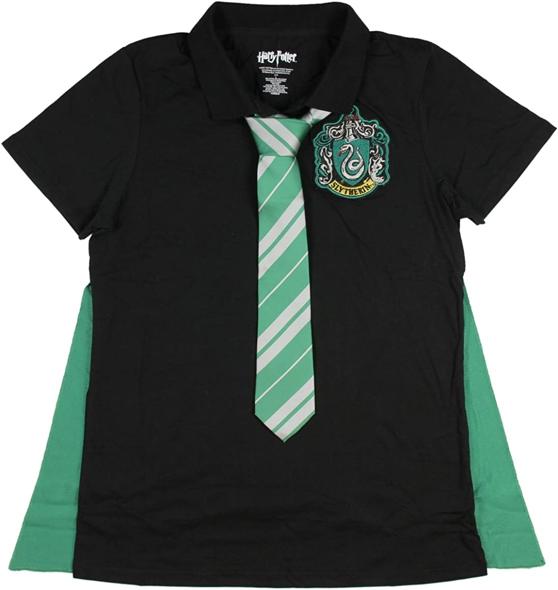 Amazon Com Harry Potter Juniors Slytherin Caped Polo Shirt With Tie Clothing