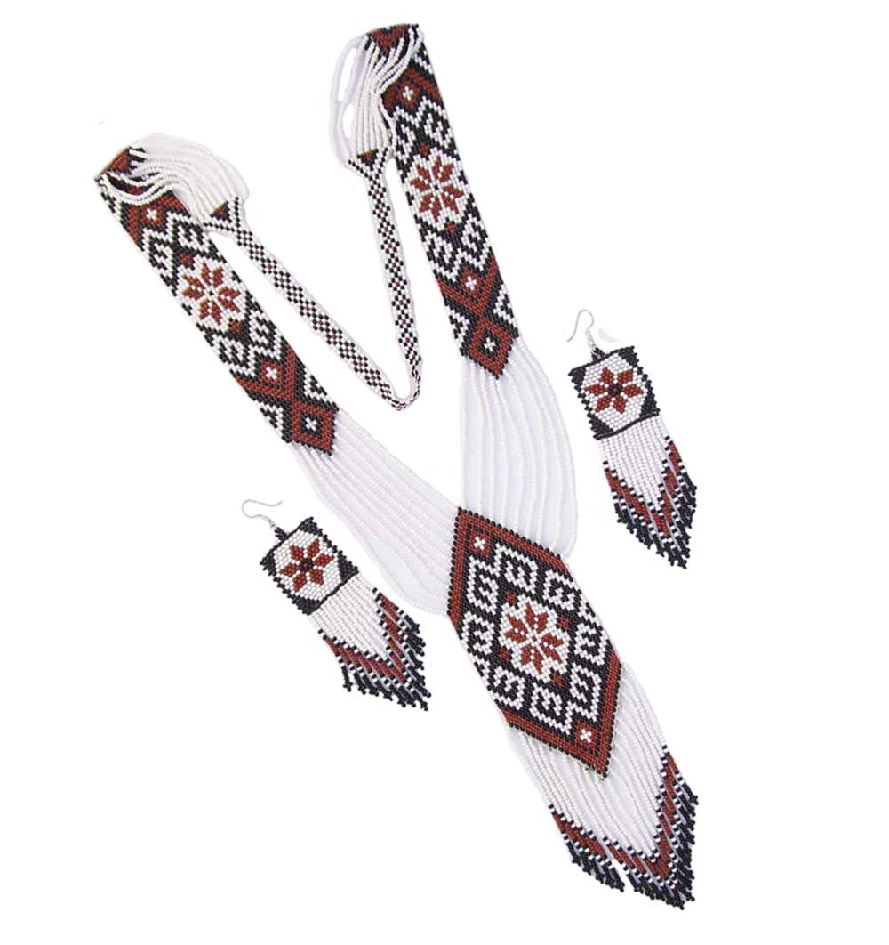 La vivia Handmade Fashion Jewelry New Native Style Inspired Long White Brown Seed Beaded Long Necklace Earring Set S58/7