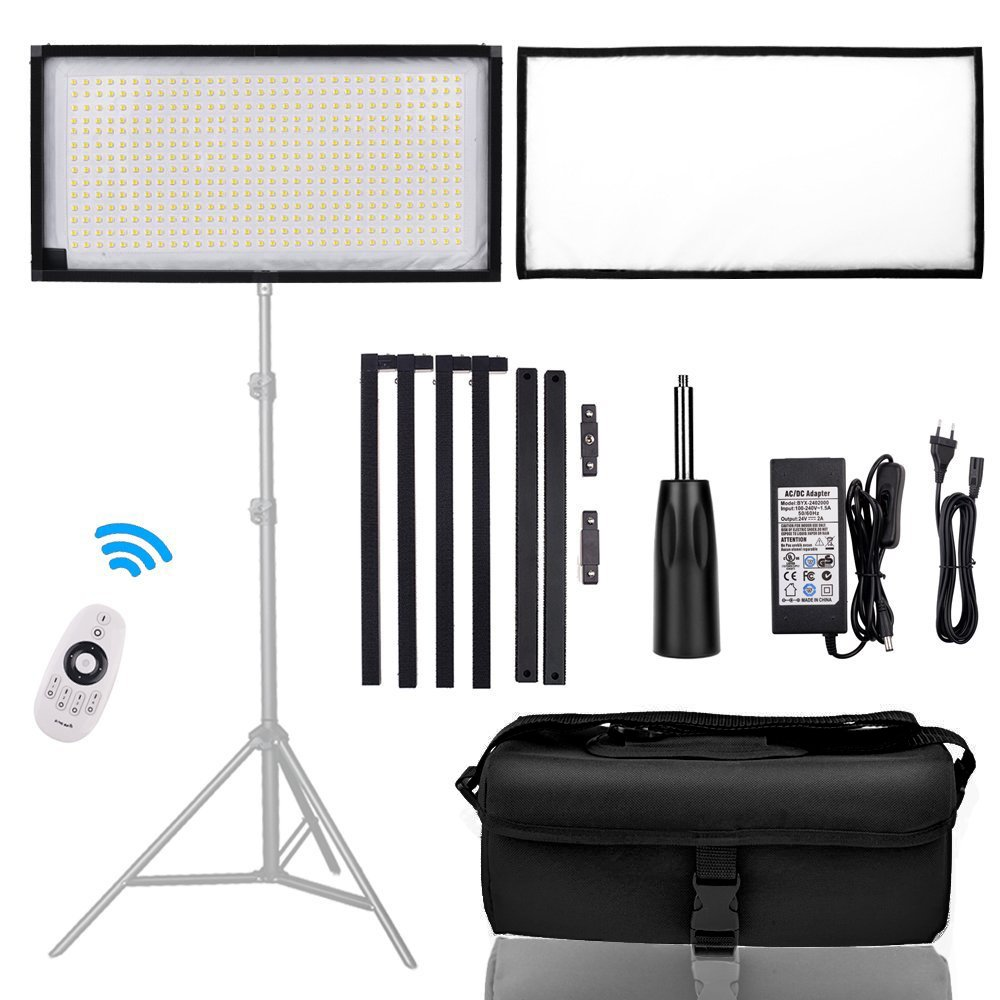 FOSITAN FL-3060A 1x2'/30x60cm Bi-Color LED Light Panel Mat on Fabric, 85W 3200K-5500K 448 LED Dimmable Photography Light with Hand Grip and Dimmer by FOSITAN