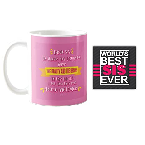 Buy YaYa CafeTM Birthday Gifts For Sister Beauty Brains Printed Ceramic Coffee Mug Coaster Set Of 2 Rakhi Online At Low Prices In India