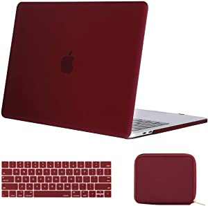 MOSISO MacBook Pro 13 inch Case 2019 2018 2017 2016 Release A2159 A1989 A1706 A1708, Plastic Hard Shell Case & Keyboard Cover & Water Repellent Storage Bag Compatible with MacBook Pro 13, Marsala Red