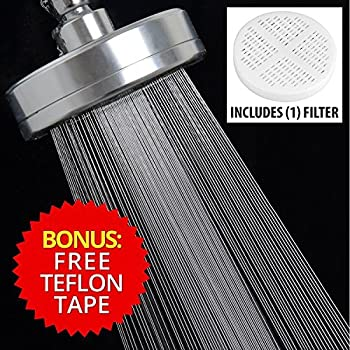 Filtered Shower Head Chlorine Filter & Hard Water Softener, High Pressure Showerhead Filter with Ionic Shower Water Filter, Best Shower Head Purifier Filtration System for Hair & Skin, Metal, Chrome