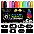 Cedar Markers Liquid Chalk Markers - 12 Pack With Free 40 Chalkboard Labels - Amazing Neon Color Pens Including Gold And Silver Ink. Reversible Bullet And Chisel Tip And A Brand New Revolutionary Cap. from Cedar Group LLC