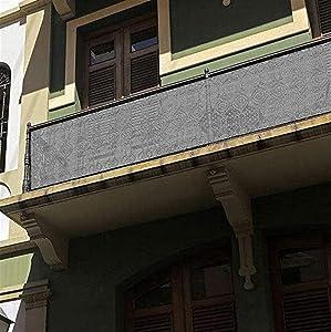 Liveinu Privacy Fence Screen Windscreen for Balcony Porch Verandah Deck Terrace Patio Backyard Railing Balcony Privacy Screen Cover for UV Protection 2.6'x5.9' ft Grey