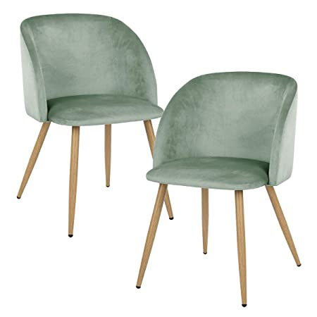 IPOTIUS Set di 2 Sedie Sala da Pranzo Moderne Poltrona in Velluto  Poltroncine da Cucina,Seduta Imbottiti,Gambe in Metallo,Verde