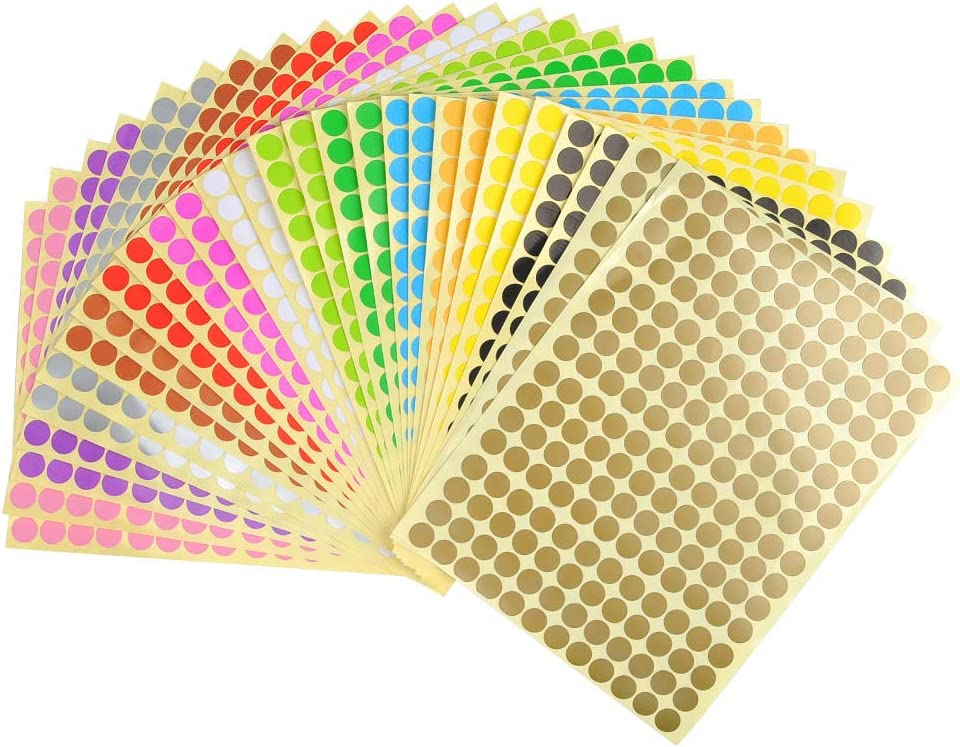 28 Sheets 5376PCS Round Coding Circle Dot Labels 10mm 14 Different Assorted Colors Dot Stickers Self Adhesive Sticky Labels