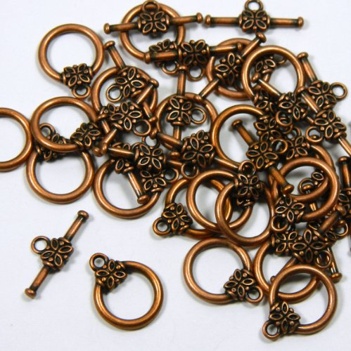 - 19 Antiqued Copper Plated Brass Jewelry Toggle Clasps 14mm Flower Design Jewelry Findings