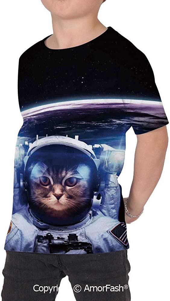 Cat Decor Childrens Short Sleeve Cool T-Shirt,Polyester,Funny Astronaut Cat ABO