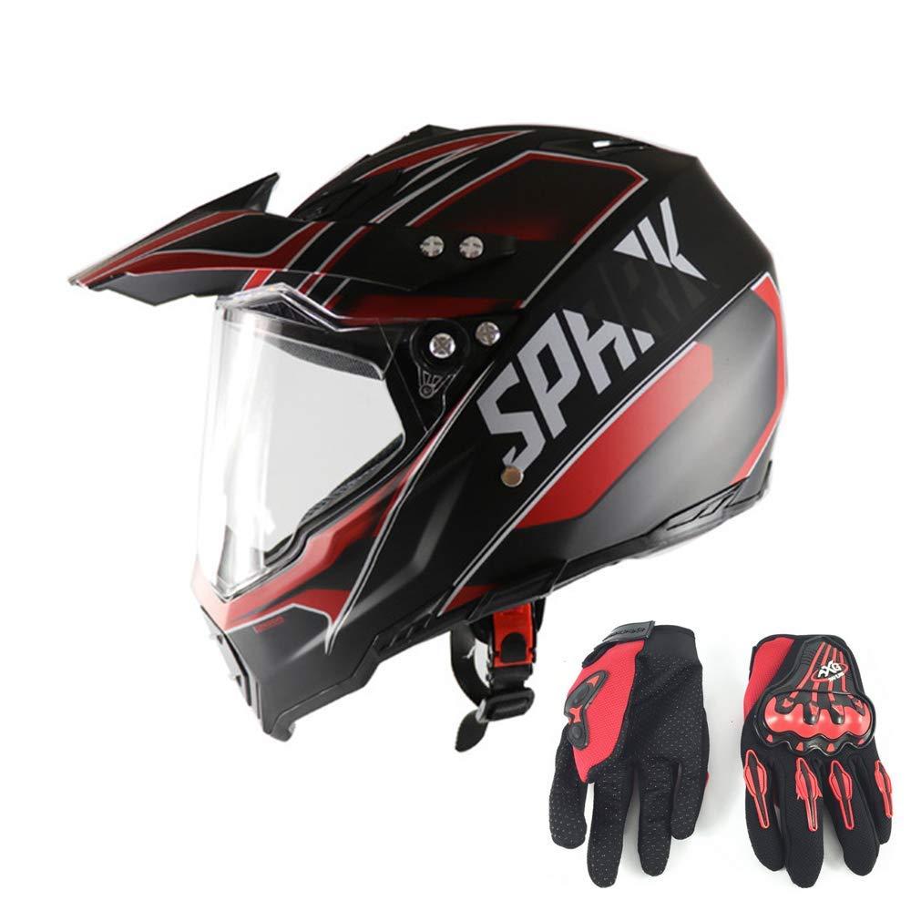 モトクロスヘルメット手袋オフロードヘルメットプロフェッショナルクロスヘルメットユニセックスATVオートバイ用ヘルメット成人子供男性女性安全保護、赤と黒