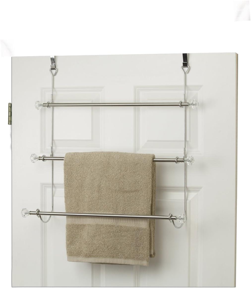 Amazon Com Home Basics Th41069 Over The Door 3 Tier Towel Rack 21 4 X 5 X 21 Silver Home Improvement
