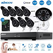 KKmoon 8CH 960H/D1 700TVL CCTV DVR Security System HDMI P2P Cloud Onvif Network Video Recorder & 1TB HDD & 8x Infrared Bullet Camera & 8x 60ft Cable support IR-CUT Infrared Night Vision Plug and Play