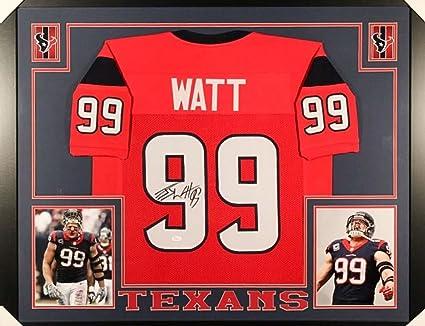 b58b415a86b J.J. Watt Signed Texans 35x43 Custom Framed Jersey (JSA COA) at ...