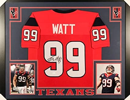 a8136c0ecf9 J.J. Watt Signed Texans 35x43 Custom Framed Jersey (JSA COA) at ...