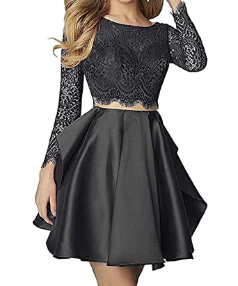 Lilyla Womens Long Sleeves Bridesmaid Dress Two Piece Prom Dresses 2018 Short Black US0