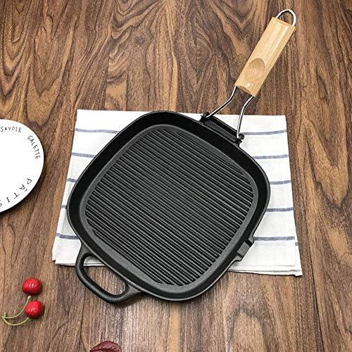 LYDIANZI Cast Iron Grill Pan antiadhésives, pré-assaisonné Grill Pan avec égouttoir facile Grease place Cast Grill Pan, Grill poêlon avec poignée en bois pliable Frying Pan