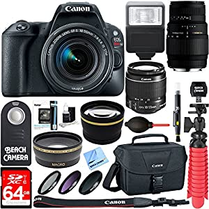 Canon EOS Rebel SL2 DSLR Camera + EF-S 18-55mm IS STM & Sigma 70-300mm Macro Telephoto Zoom Lens Kit + Accessory Bundle 64GB SDXC Memory + Bag + Wide Angle Lens + 2x Telephoto Lens+Flash+Tripod