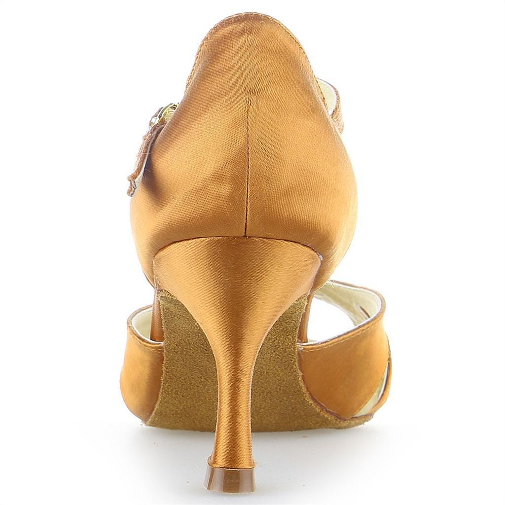 Jia Jia Y2055 Damen Sandalen Ausgestelltes Ausgestelltes Sandalen Heel Super-Satin Latein Tanzschuhe Tan cab26d