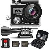 Dragon Touch Vision3 4K アクション カメラ 1600万画素 30メートル 防水カメラ 170度広角 レンズ2インチ 2.4G無線RFリモートコントロール 二つ予備バッテリーと豊富な付属品付き リモコンバイクや自転車/カート/車に取り付け可能 空撮やスポーツに最適
